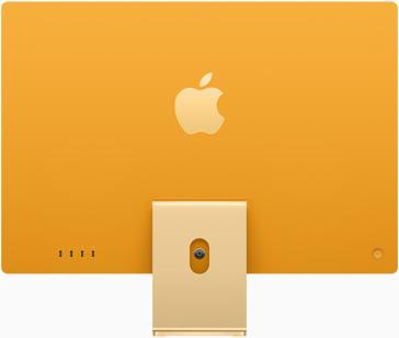 Vedere posterioară a iMac pe galben