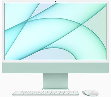 Vedere frontală a iMac pe verde
