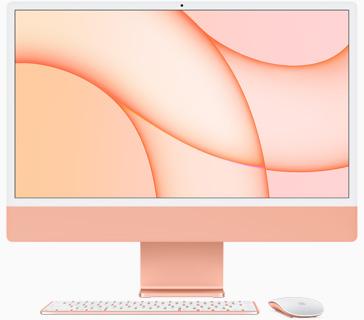 Vedere frontală a iMac pe portocaliu