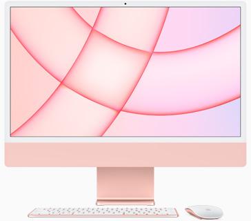 Vedere frontală a iMac pe roz