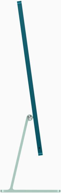 Vedere laterală a iMac pe verde