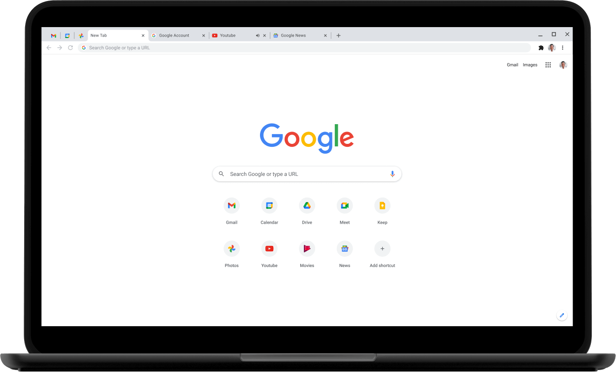 Pixelbook Go laptop with screen displaying Google.com.