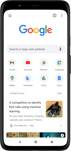 Pixel 4 XL phone with screen displaying Google.com.