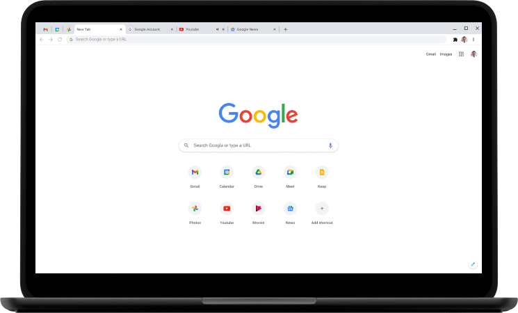 Laptop, displaying the Google.com home page.